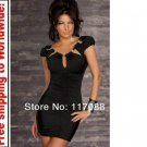 Black Stunnig Cinched Front Clubwear cocktail dress + Free shipping to worldwide!
