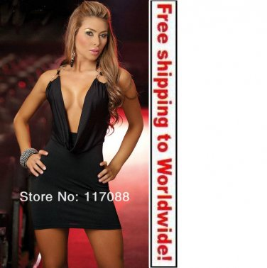 Black Halter Dress Plunging Cowl Bodice Mini Dress+ Free shipping to worldwide!