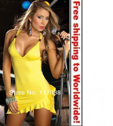 Yellow Mini Knitted Bodycon Sexy Casual Dress+ Free shipping to worldwide!