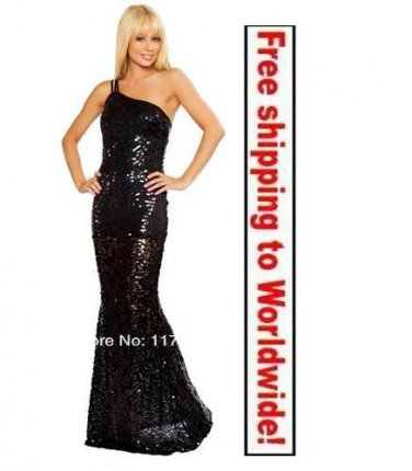 Black Formal Stunning One Shoulder Gown evening long dress + Free shipping to worldwide!
