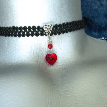 Rose, Cross, Crystal Drop or Heart Pendant Ribbon Choker Necklace -- Made in USA