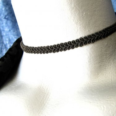 Thin Black Swirl Trim Ribbon Choker Necklace -- Hand Made in USA
