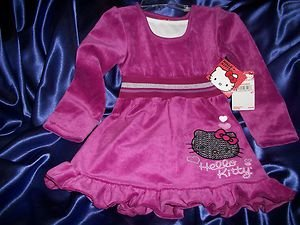 Hello Kitty Wild Aster Velour Dress Silver Sequined Kitty  NWT