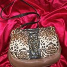 Jessica Simpson  Leopard Cheetah Smash Hit Walnut/Gold  Handbag RETAIL 88.00