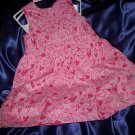 DKNY 2-pc Sleeveless Pink with Hearts lined Dress w/ matching bloomers NWT