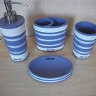DKNY GRAPHIC STRIPE LAVENDER WHITE 4 PC CERAMIC BATH ACCESSORIES