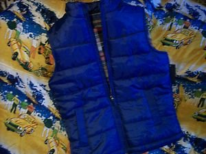 WEATHER REPORT ULTRAMARINE KIDS LARGE 14-16 BLUE DOWN VEST FLANNEL LINED NWT