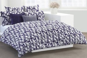 DKNY DONNA KARAN FULL/QUEEN WILLOW DUVET COVER & EURO SHAMS FLOWERING WILLOWNIP
