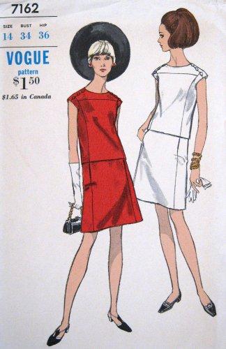 Vintage 1960's MOD 2 Piece Dress Sewing Pattern Top & Skirt Vogue 7162 Size 14 Bust 34 UNCUT