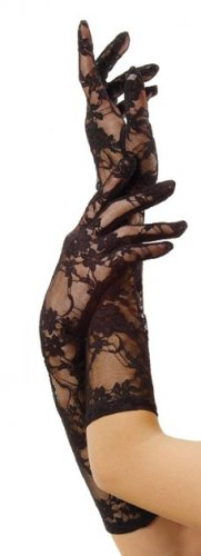 Black Stretch Lace Elbow Length Gloves