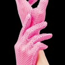 Pink Stretch Fishnet Wrist Length Gloves