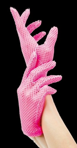 White Stretch Fishnet Wrist Length Gloves