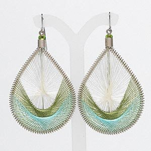 Woven nylon teardrop earrings - green, blue and white