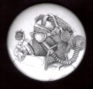 Gas Mask #10  pinback button badge 1.25""
