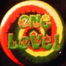 1 RASTA &quot;ONE LOVE!&quot;  pinback button badge 1.25&quot;