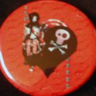 1 PUNK CHICK ON A BLACK HEART pinback button badge 1.25""