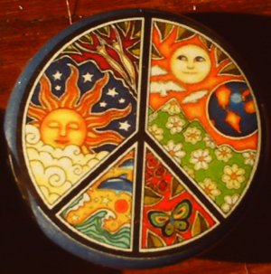 """1 PSYCHEDELIC PEACE SIGN pinback button badge 1.25"""""""
