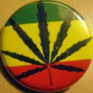 RASTA FLAG w/ GANJA LEAF pinback button badge 1.25""