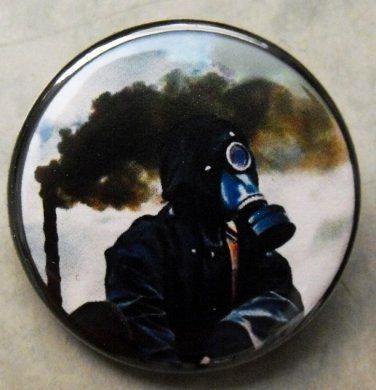 GAS MASK #13 pinback button badge 1.25""