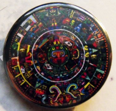 PSYCHEDELIC MAYAN CALENDER pinback button badge 1.25""