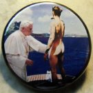 POPE BENEDICT BLESSES JUSTIN BIEBER pinback button badge 1.25""