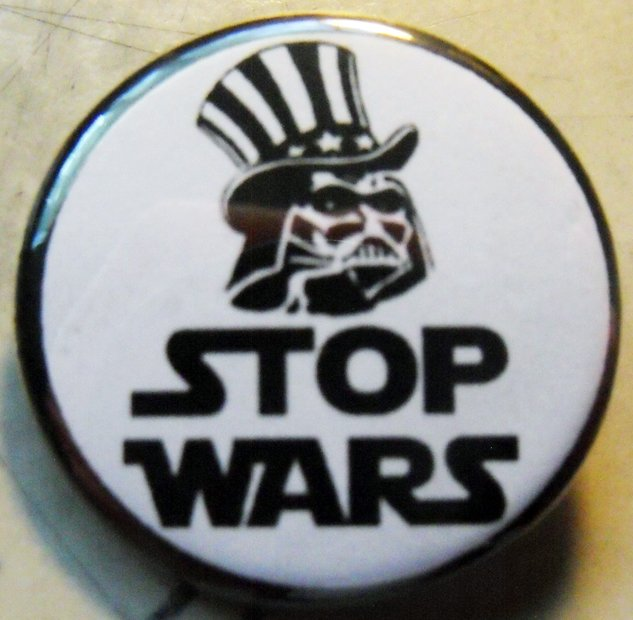 "STOP WARS - VADER pinback button badge 1.25"""