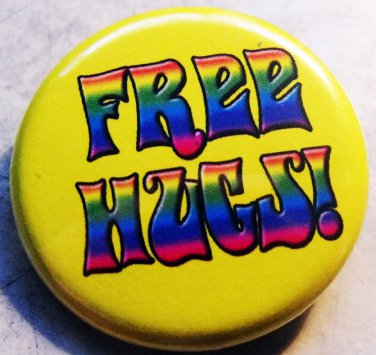 """FREE HUGS! #2  pinback button badge 1.25"""""""