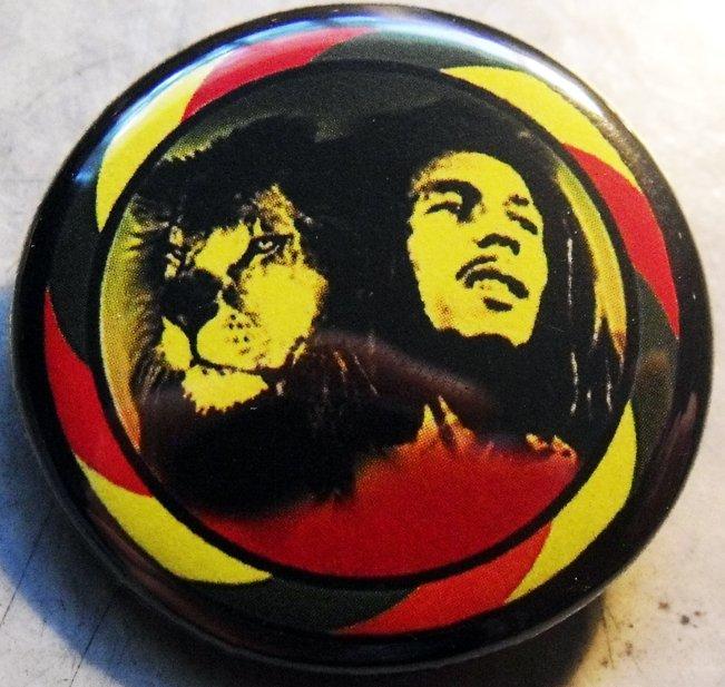 "RASTA BOB MARLEY LION pinback button badge 1.25"""