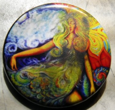 PSYCHEDELIC WOMAN pinback button 1.25""