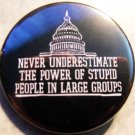 NEVER UNDERESTIMATE THE POWER OF STUPID PEOPLE IN LARGE GROUPS pinback buttons badge 1.25""
