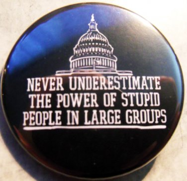 """NEVER UNDERESTIMATE THE POWER OF STUPID PEOPLE IN LARGE GROUPS pinback buttons badge 1.25"""""""