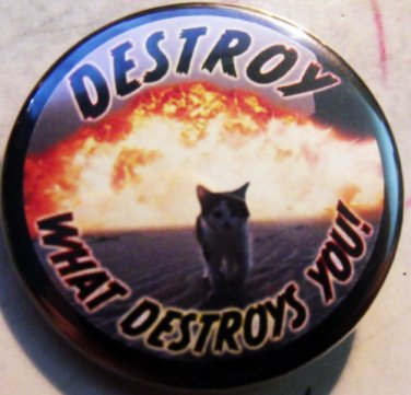 """DESTROY WHAT DESTROYS YOU - KITTY pinback button badge 1.25"""""""