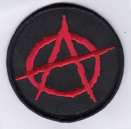 "ANARCHY EMBROIDERED IRON-ON PATCH 3"" inches PLUS 2 FREE PINS"