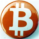 ORANGE BITCOIN LOGO   pinback button badge 1.25""