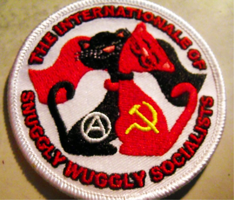 "THE INTERNATIONALE OF SNUGGLY WUGGLY SOCIALISTS embroidered iron-on patch 3"" inches PLUS 2 FREE PINS"