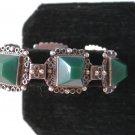 Vintage Signed AJM GUAD MEXICO STERLING SILVER & GREEN ONYX LINK BRACELET 34.8 g ~ # 1