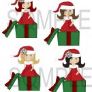 Christmas Cute Girls 3-Emailed as JPEG File-Commercial and Personal Use