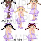 Dress Up Girls Purple 1-Emailed as JPEG File-Commercial and Personal Use