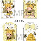 Bumble Bee Girl Blonde 1-Hang Tags-Emailed as JPEG File-Commercial and Personal Use