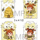 Bumble Bee Girl Redhead 1-Hang Tags-Emailed as JPEG File-Commercial and Personal Use