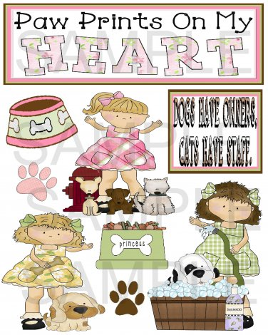 Paw Prints on my Heart - Emailed as JPEG File-Commercial and Personal Use