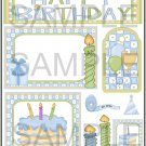 Happy Birthday Blue and Green - Emailed as JPEG File-Commercial and Personal Use