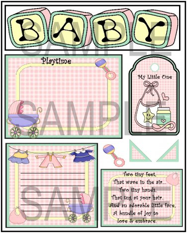 Baby Girl Bibs - Emailed as JPEG File-Commercial and Personal Use