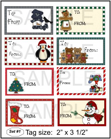 Set 1 Gift Tags -  Emailed as JPEG File-Commercial and Personal Use