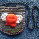 CUTE RED ELEPHANT FACE ON MULTICOLOUR ETHNIC BACKGROUND GIRLS SHOULDER BAG