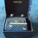 SHADOW BLUE 100% SILK ELEPHANT TIE HANDKERCHIEF AND CUFFLINK SET IN PRESENTATION GIFT BOX