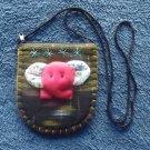 CUTE DARK RED ELEPHANT FACE ON ORIGINAL DESIGN BACKGROUND GIRLS SHOULDER BAG