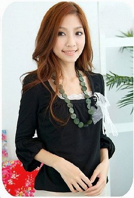 Long Sleeve Blouse (Black)