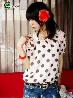 Black Dotted Blouse (Pink)