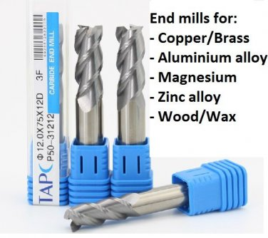 End Mill Tool Set: 2 or 3 Flute Carbide Endmill CNC Part - 14mm Dia x 100L x 1pc